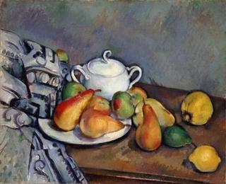 �Aポール・セザンヌ《砂糖壺、梨とテーブルクロス》 1893-1894年 ポーラ美術館蔵_s.jpg